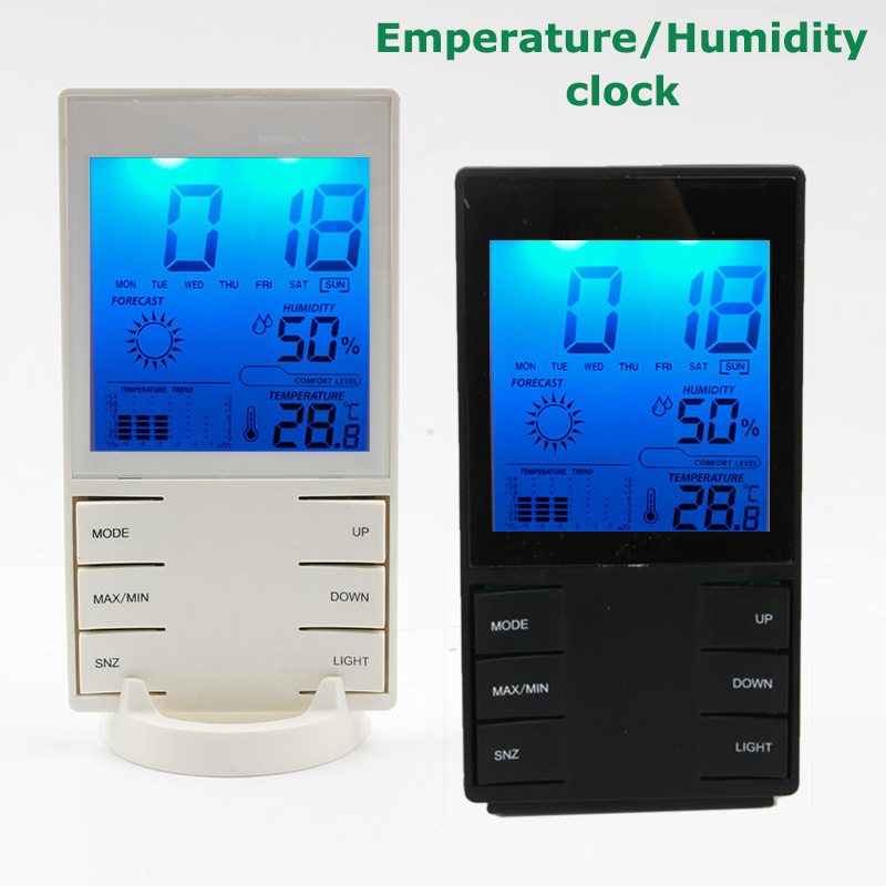 LCD Blue backlight display Snooze Alarm Temperature/Humidity clock Weather forecast station meter