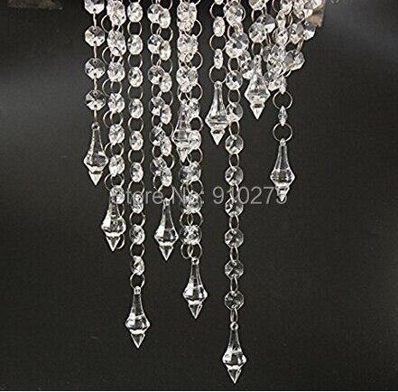 33 Feet 10pcs Clear Acrylic Crystal Garland Strand Diamond Chandelier Centerpieces Manzanita Haning Wedding Party