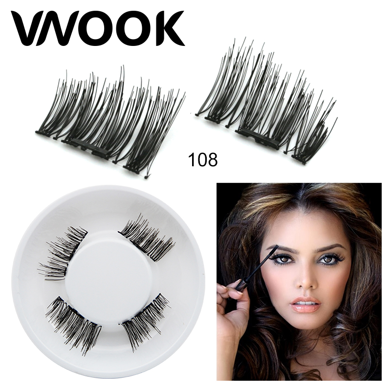 3D eyelashes cosplay Magnetic Eyelashes Beauty No Glue Reusable Fake Eye Lashes Extension 4PCS strip lashes Fake bottom lash set