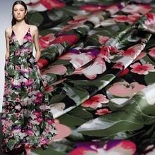 цена на Pearlsilk 13momme Flower Leaf Printed Satin 100%Mulberry Silk Materials Summer Dress DIY clothes fabrics Freeshipping