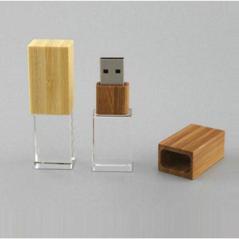 Wooden Crystal USB Flash Drive Personalized Photo Logo 4GB 8GB 16GB 32GB USB 2.0 Pendrive Custom Logo For Wedding Gifts