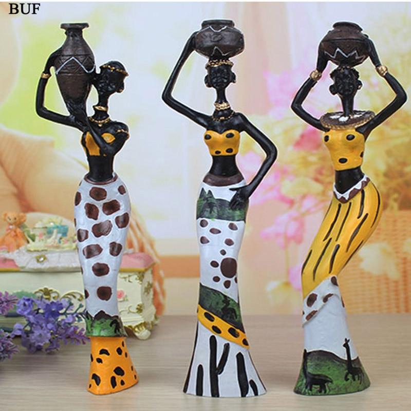 BUF 3pcs/Set Sculpture Home Decoration Accessories African Statue Resin Statue Ornaments African Woman Staue Creative Sculpture