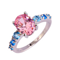 Wholesale New Arrival Fashion Sweet Jewelry Pink Sapphire & Blue Topaz 925 Silver Ring Size 6 7 8 9 10 11 12 13 Free Shipping