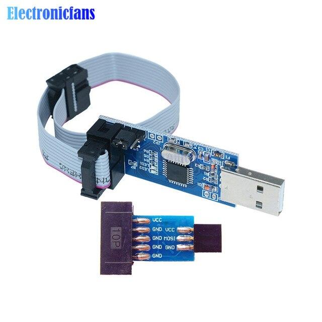 2Pcs/Set 10Pin To 6 Pin Adapter Board + USBASP USBISP AVR Programmer USB ATMEGA8 ATMEGA128 ATtiny/CAN/PWM 10Pin Wire Module DIY