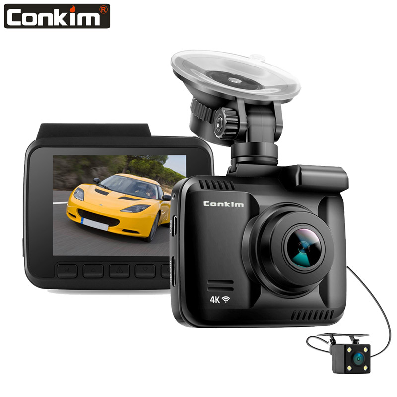 Conkim Novatek Car DVR With Two Camera Ultra 4K HD DVR Dash Camera Built In GPS WIFI Cam Car Video Recorder Rear View Lens Dual
