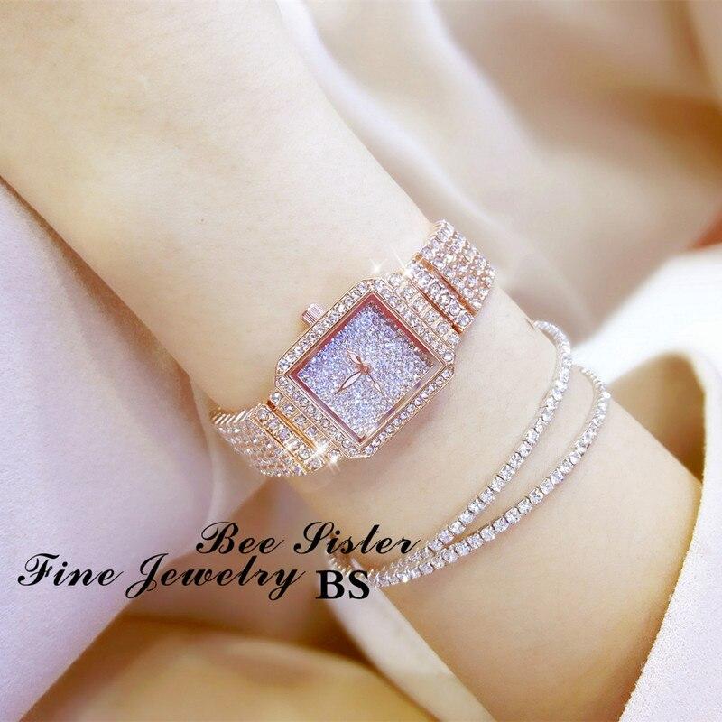 Diamond Luxury Wristwatch Women Quartz Watch Rhinestone Square Stainless Steel Ladies Dress Bracelet Watch With Gift Box