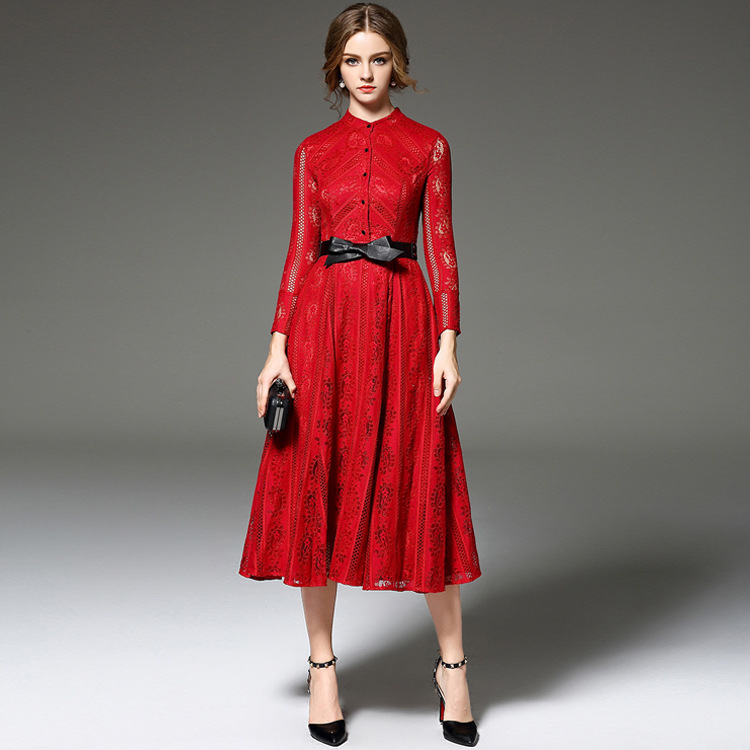 Bcbg long sleeve red lace dress