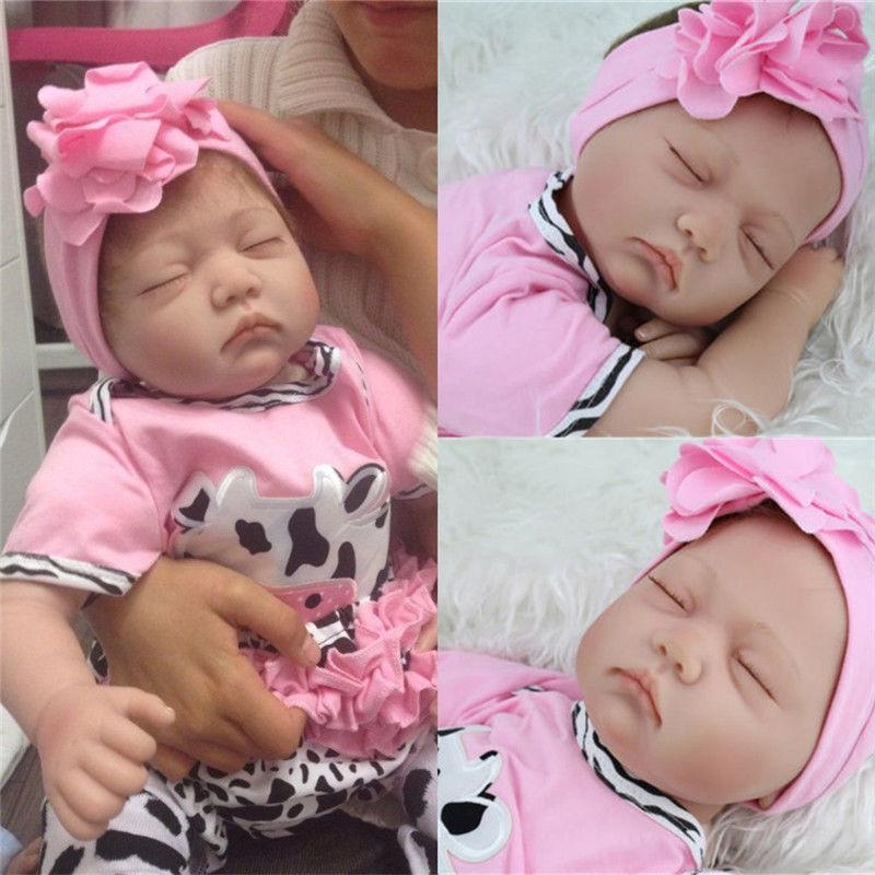 2017 Lifelike Handmade Reborn Baby Doll Toy Newborn Soft Silicone Vinyl Sleeping Girl 22Inch [sgdoll]2017 new 10 black african american lifelike reborn baby soft silicone doll sleeping girl 17041950