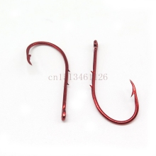 100Pcs/Lot Double barb Fishing hook red covering Fishing Stainless Steel Fishhook Size 1#-8# Fish Carp Fishing Hooks