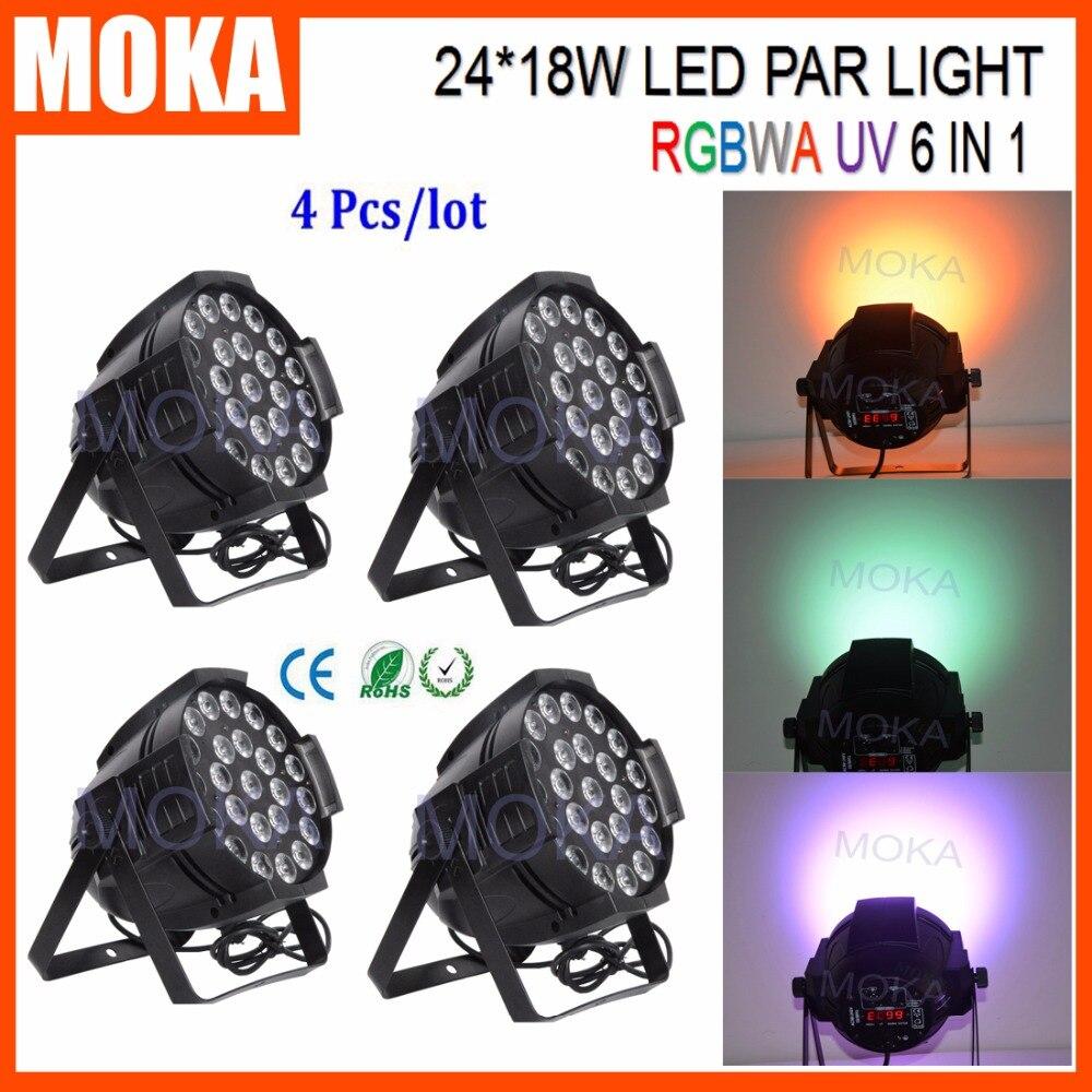 4 יח'\חבילה RGBWA Led Par אור יכול 24x18 w UV/Par64 מנורת תאורת Led-באפקטי תאורה לבמה מתוך פנסים ותאורה באתר MOKA SFX Pro Equipment Store