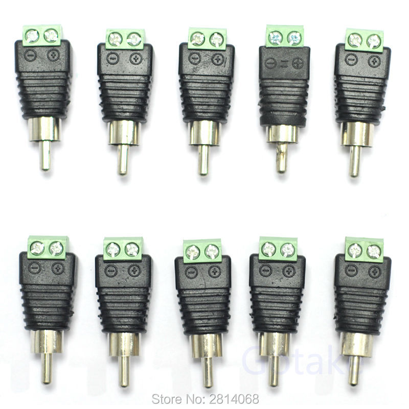 10pcs Coax CAT5/6 To RCA Male Jack Plug AV Composite Adapter For Security DVR CCTV Video Audio
