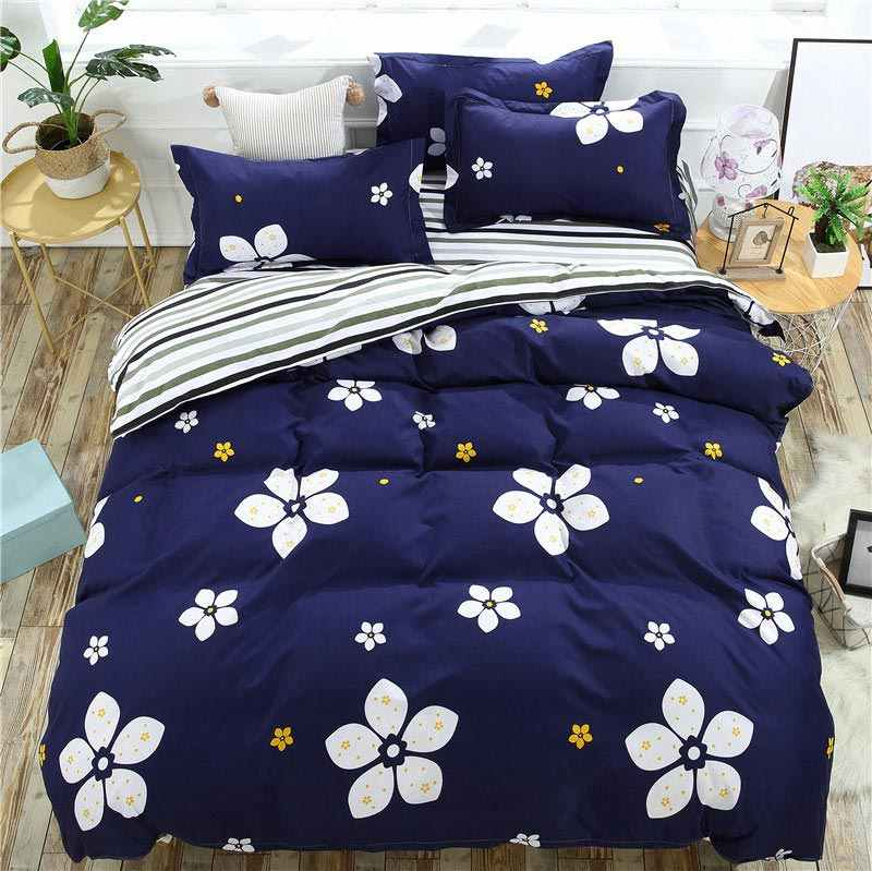 Stripe Flower 4pcs Kid Bed Cover Set Cartoon Duvet Cover Adult Child Bed Sheets And Pillowcases Comforter Bedding Set 2TJ-61004