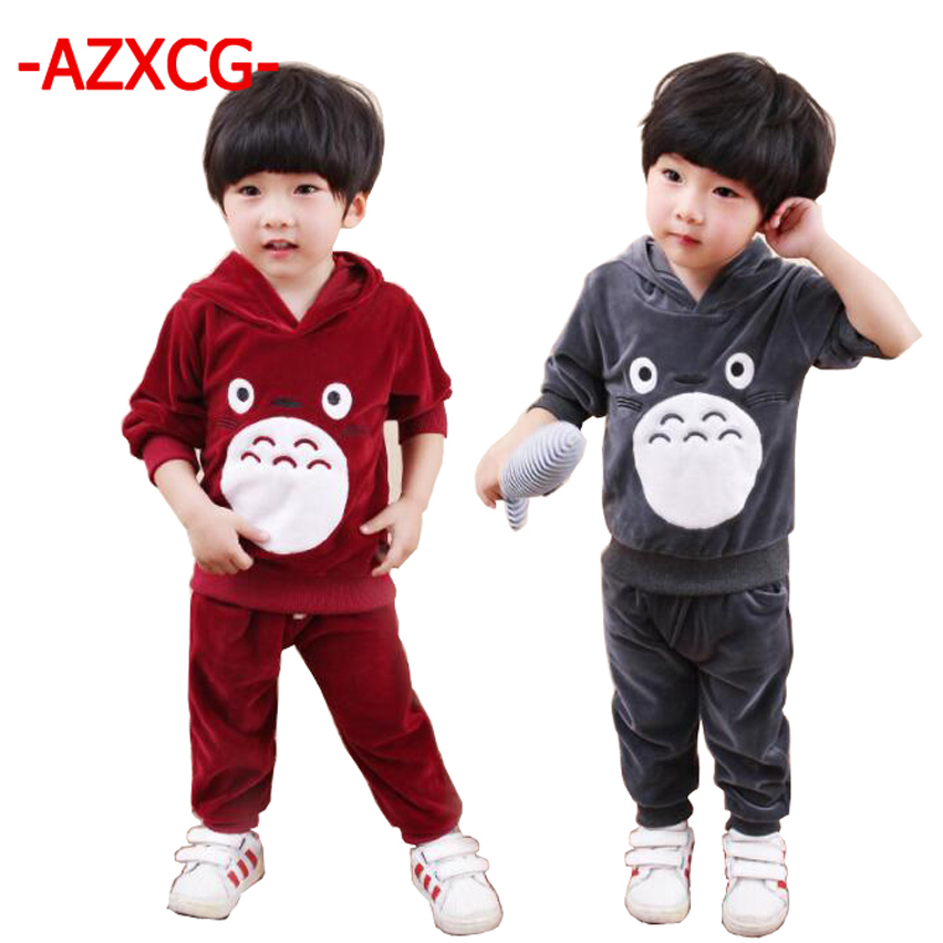 2017 New Children Boys Girls Cartoon Clothing Suits Baby Velvet Hoodies Pants 2Pcs/Sets Kids Winter Clothes Toddler Tracksuits 2018 children boys girls clothing suits autumn winter baby hooded vest t shirt pants 3pcs sets cartoon kids clothes tracksuits