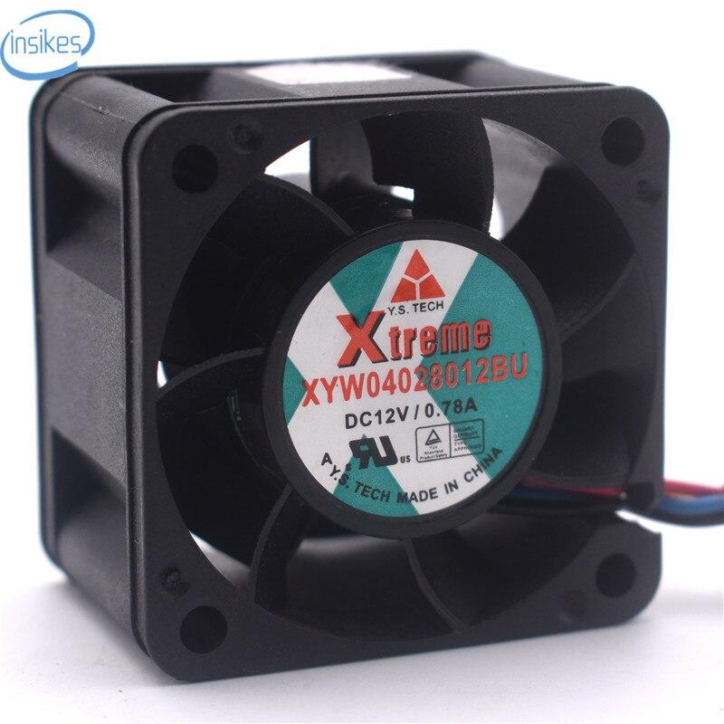 XYW04028012BU Température Contrôle Roulement À Billes Ventilateur De Refroidissement DC 12 V 0.78A 4028 4 cm 40*40*28mm 4 Fils