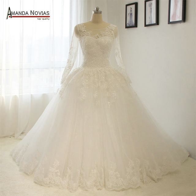 Elegant Simple Long Sleeve Wedding Dresses with Lace 2017 Puffy Low ...