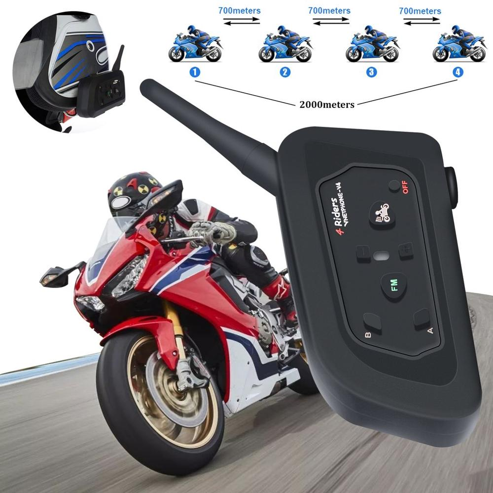 Motorcycle Walkie-talkie V4 Full-duplex Real-time Call Helmet Walkie-talkie Headset 1200M Wireless Motorbike Intercom Connect