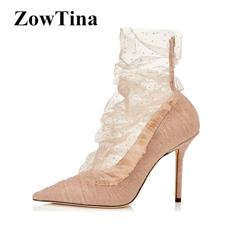 ad99e1ef0a0 US $46.9 30% OFF|2019 New Design Women Pumps Nude Shiny Lace Wedding Shoes  Pointed Toe Formal Dress Party Ladies Valentines Stilettos Ankle Boots-in  ...