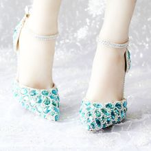 Ankle Strap Women Wedding Shoes Pointed Toes Sky Blue Diamonds Silver Heels Red Bottom Party Shoes