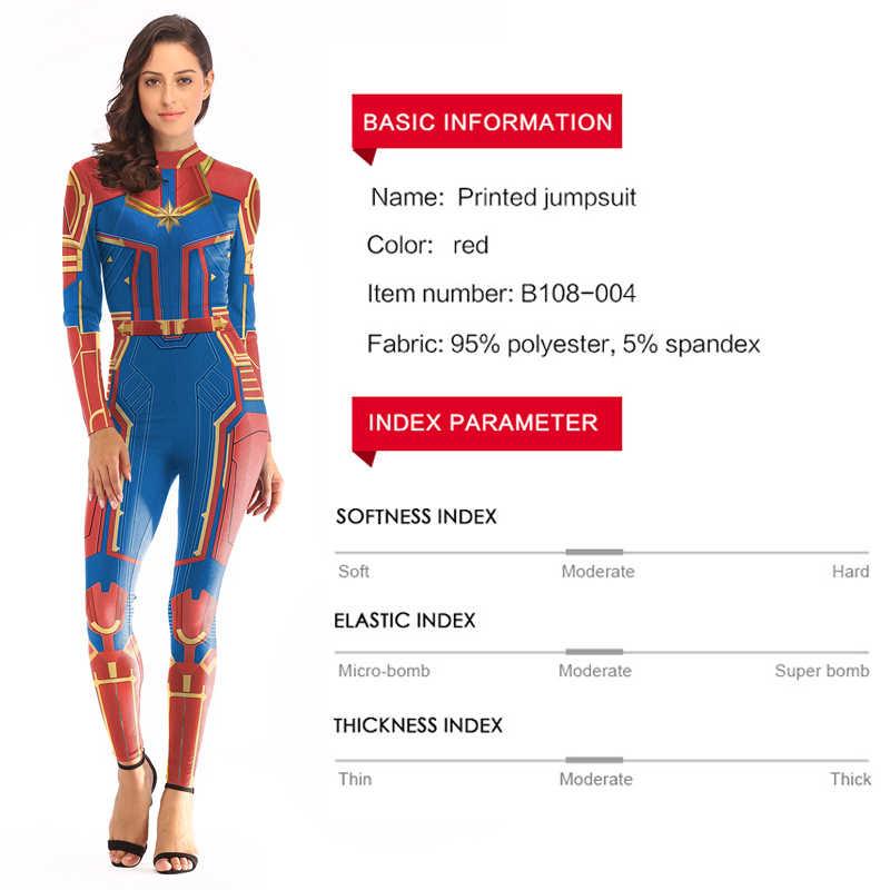 Movie Captain Marvel Jumpsuit Cosplay Costume Carol Danvers Sexy 3D Print  Bodysuit Women Girls Halloween