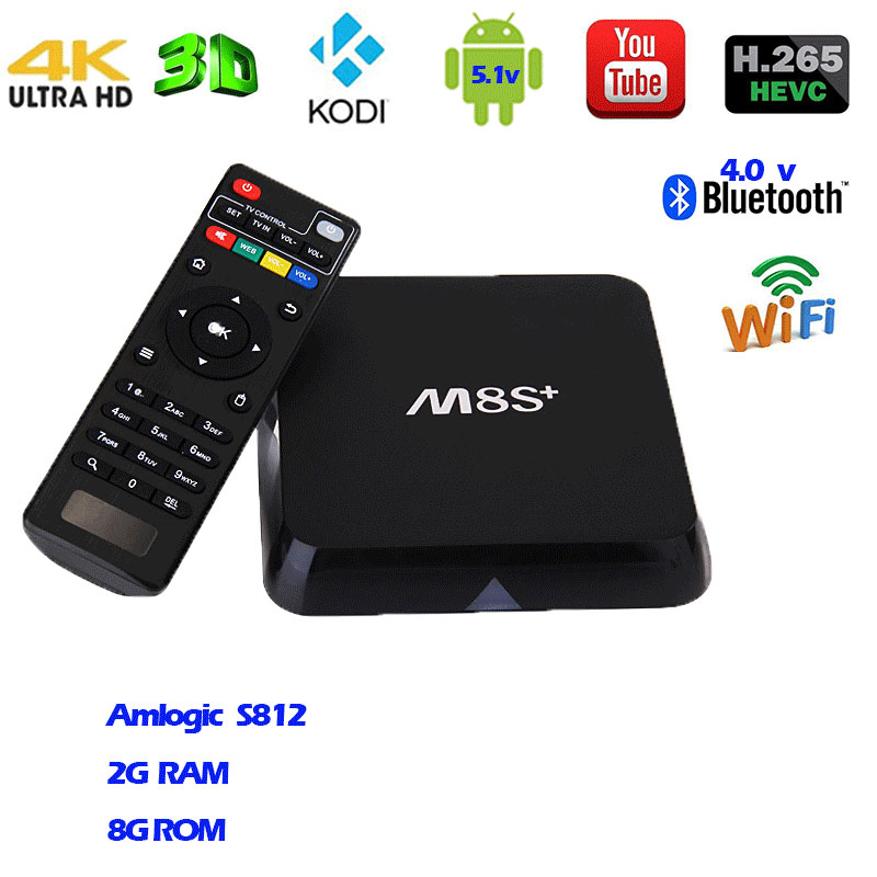 TV Box  Bluetooth  Android 5.1  M8S+/M8S plus  Amlogic S812 Quad Core  2G+8G KODI XBMC DLNA Miracast Airplay Smart Set-top Box amlogic s812 hot sell android tv box quad core wifi smart tv box with xbmc kodi fully loaded m8s plus android 5 1 google box