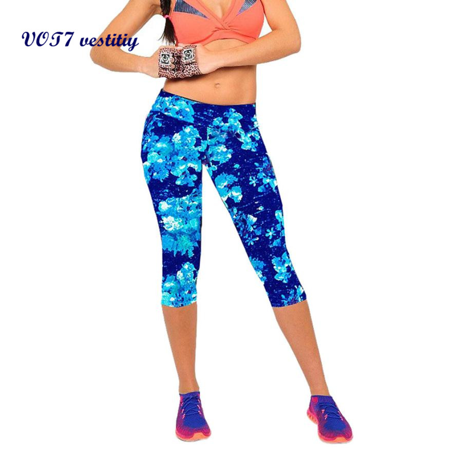 2019 fashion High Waist Fitness Pants Printed Stretch Cropped spandex   Leggings   Sep Women Tights trousers pantalones mujer