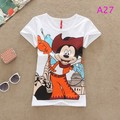 New 2015 Mouse Women cotton Print Eiffel Tower short Sleeve O-neck Loose Tee Tops girl t shirt women Free Shipping