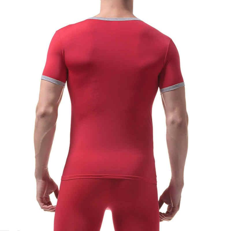 Camiseta ajustada de manga corta para hombre Camiseta ultrafina de seda de hielo para hombre estirable transpirable camiseta Tops ropa interior