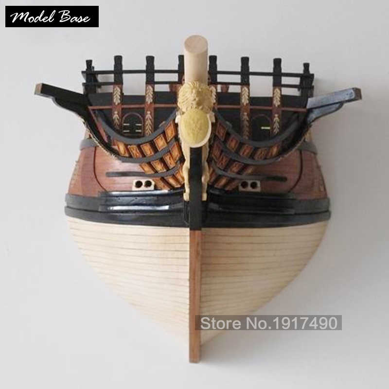 Wooden Ship Models Kits 3d Laser Cut Scale 1/50 Peter The Great Flagship Bow Pendant  Can Be Mounted On The Wall Home Model kit