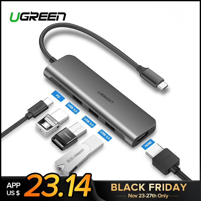 Ugreen USB C HUB USB-C à 3.0 HUB HDMI Thunderbolt 3 Adaptateur pour MacBook Samsung Galaxy S9 Huawei P20 Compagnon 20 Pro Type C USB HUB