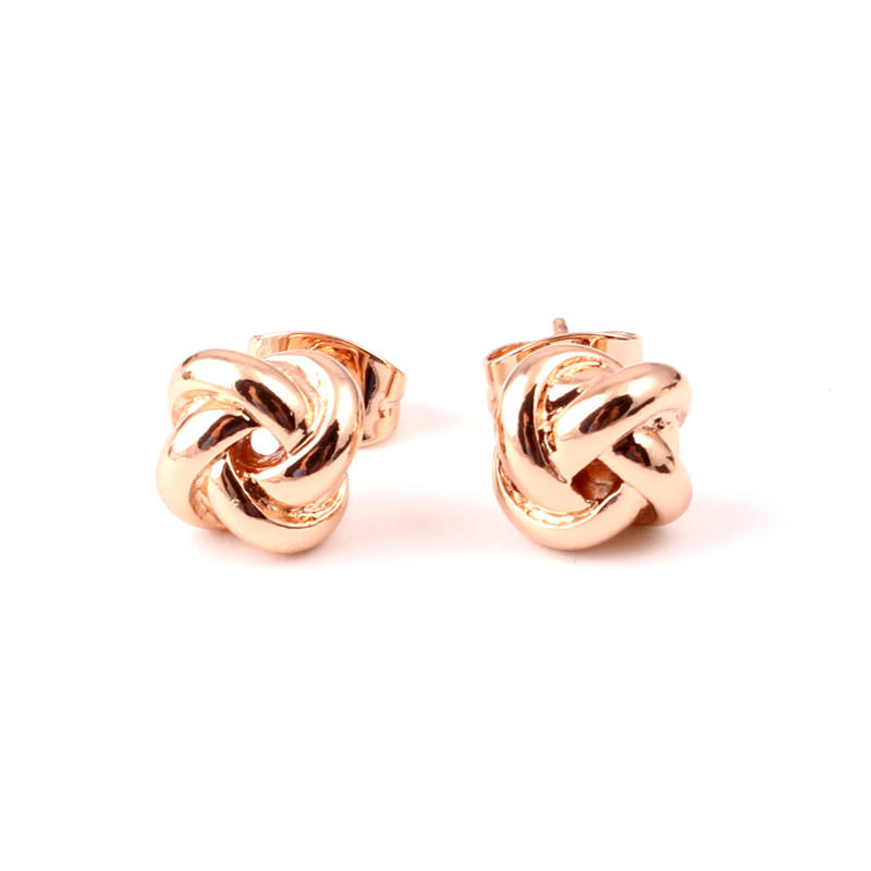 Us 6 1pair Cute Twist Love Knot Earrings Gold Rose Fashion Accessories Office Jewelry Women Gifts In Stud From