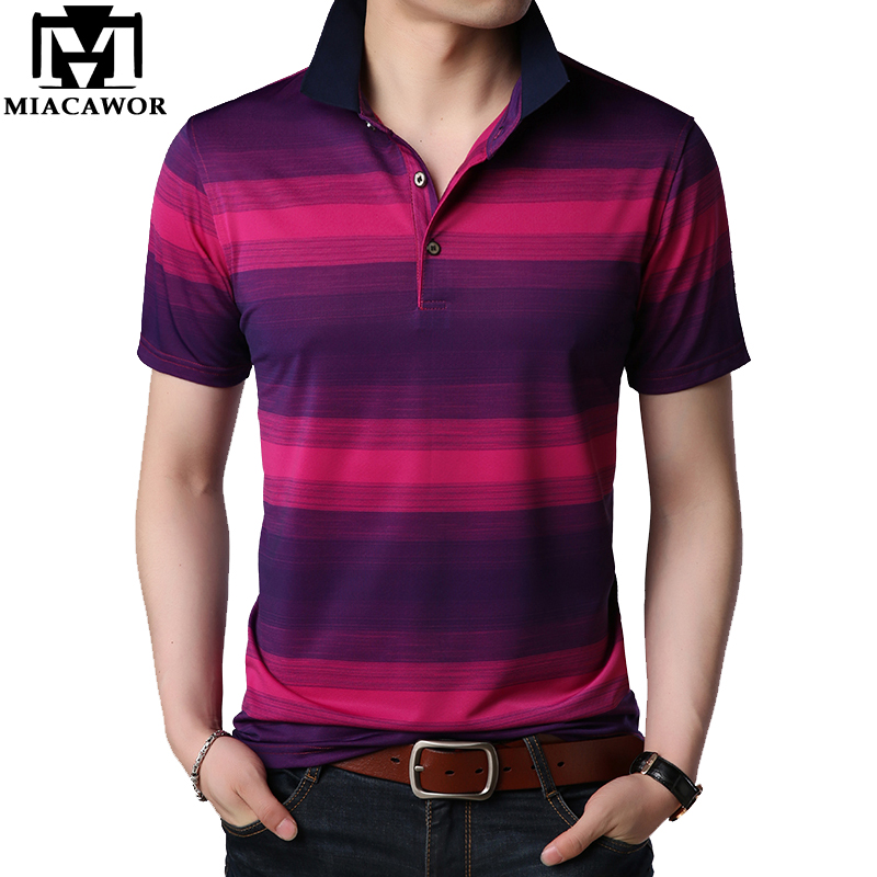 MIACAWOR New High Quality Men   Polo   shirts Striped Business Casual Men Short sleeve Slim Fit Camisa Men Tops Tees T725