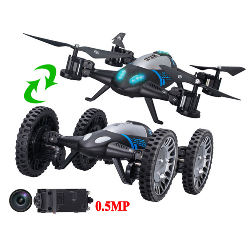 Lishitoys L6055 2.4G 2 in 1 RC Flying Quadcopter Vehicle with 0.5MP Camera Mode Remote Control Profissional Drone Toys Car f809 2 in 1 rc flying car 4wd 2 4g 4ch remote control drone with wifi camera rc quadcoter headless mode 360 degree vs x25 x9