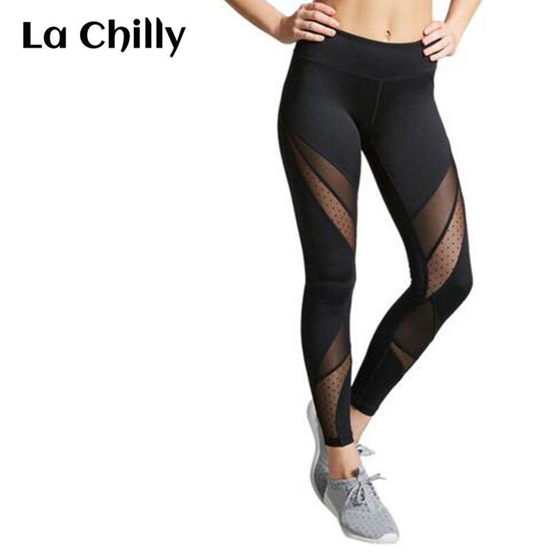 Women Splice Mesh Legging Ladies Hight Waist Stretch Pants Fitness Feminino Soft Sexy Black Leggings Ropa Deporte Mujer