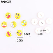 ZOTOONE 100pcs Mixed Random Round Wooden Sewing Cute Emoji  Face Buttons 20mm Two Holes Cabochon Scrapbooking DIY Accessoires A