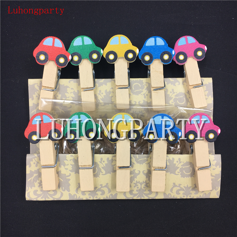 1pack Little Car Cute Office Supplies Photo Craft Clips DIY Clothes Paper Peg Party Decoration HOYOUPARTY
