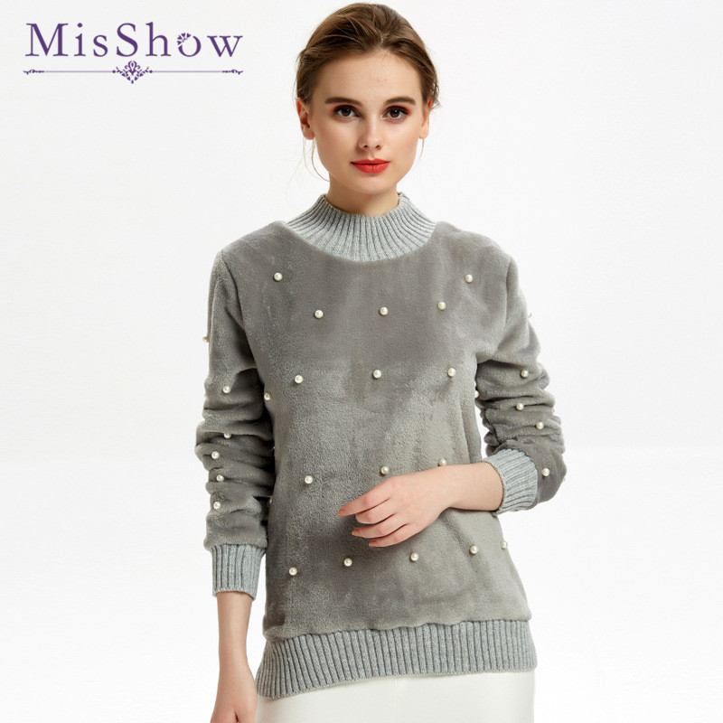 MisShow Thick Women Sweaters 2019 Winter Flano O Neck Long Sleeve Pearl Beading Women Winter Tops Warm Knitted Jumpers