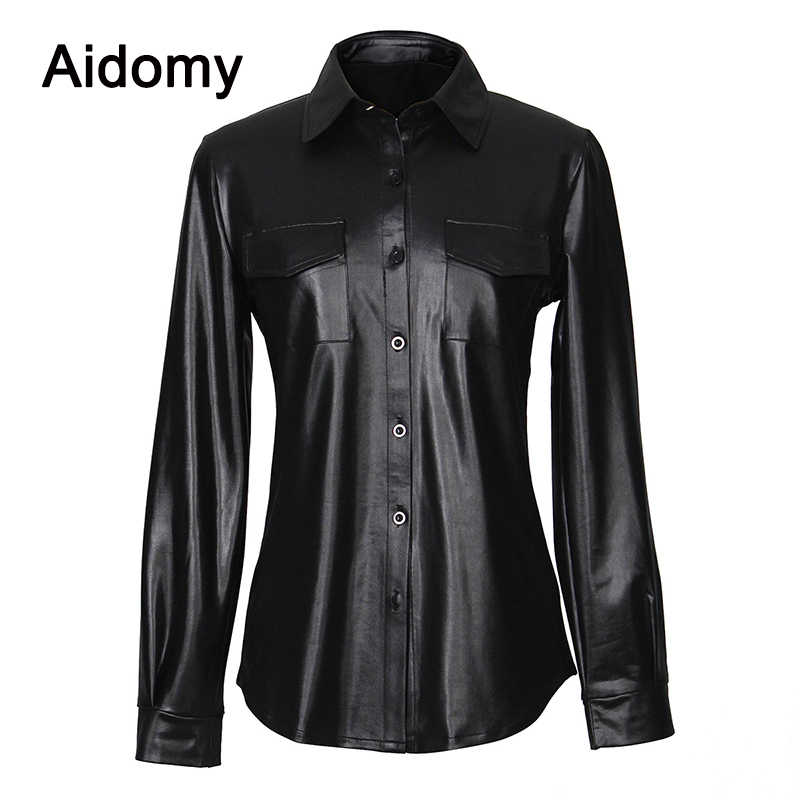 Casual Leather Shirt Women Long Sleeve Buttons Blouse Turn-Down Collar Blusa Mujer Streetwear Pocket Office Women Tops