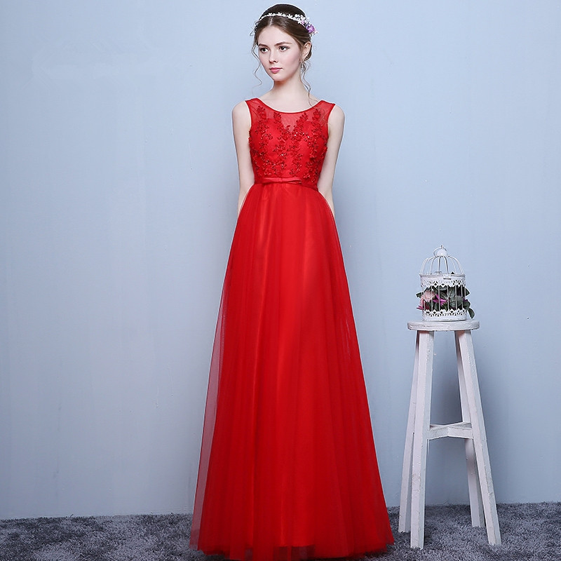 new sexy for graduation red lace appliques beading sleeveless a line Party gowns long Prom fast shipping 2018 bridesmaid dress in Bridesmaid Dresses from Weddings Events