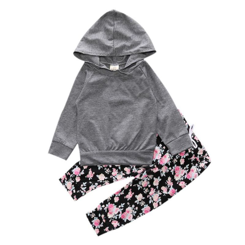2pcs/set Baby Girls Clothes Newborn Infant Long Sleeve Hooded Shirt Coat Tops+Floral Pants Outfits Bebek Clothing Set