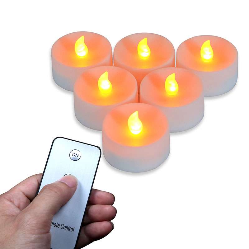 AAA battery operated Fake Candles Remote,12 Pieces Remote Control Amber Flickering Battery Candles,Battery not included image
