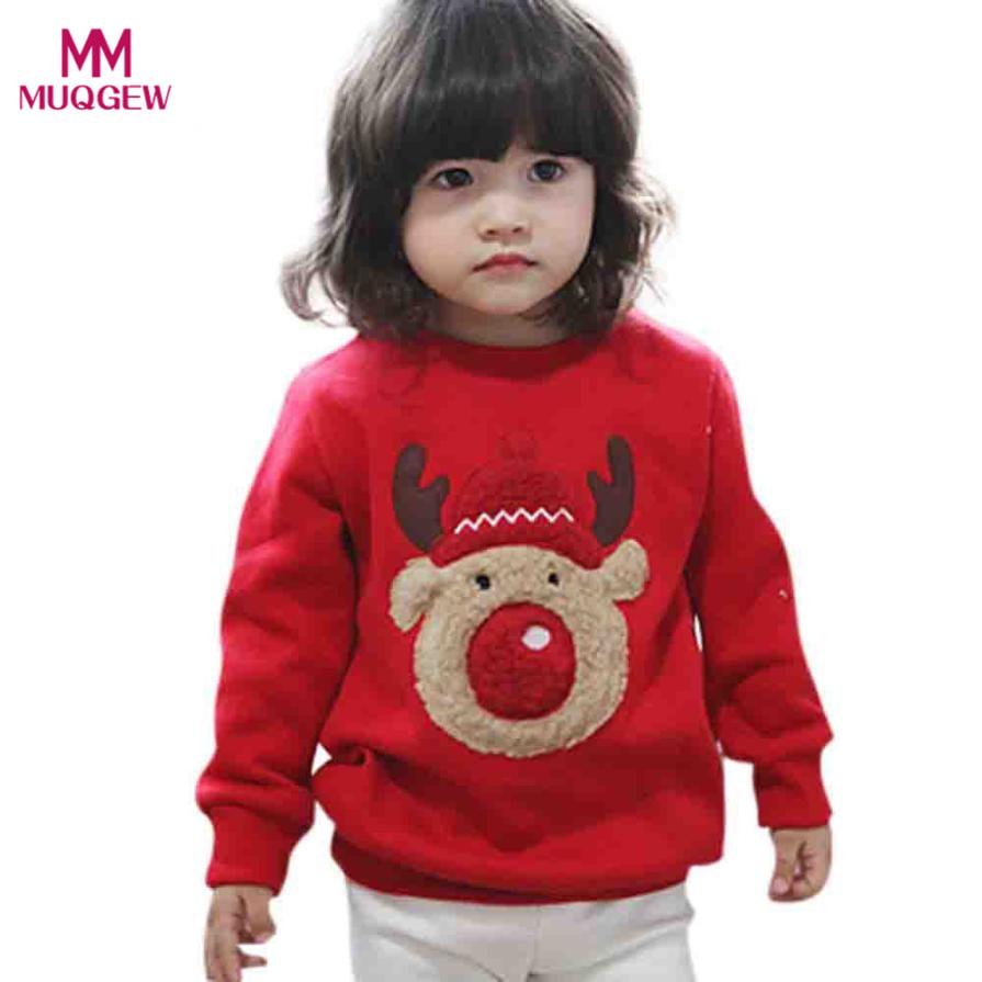 Fashion Toddler Baby Boys Girls Long Sleeve Christmas Deer Print Sweatshirt Tops Autumn Winter Casual Outwear Clothes Sweatshirt