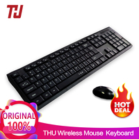 THU Waterproof 2.4GHz Ultra Thin Compact Portable SMALL Wireless Keyboard and Mouse Combo Set for PC, Desktop, Laptop