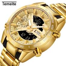 TEMEITE Лидирующий бренд Для мужчин; водонепроницаемые часы в армейском стиле светодиодный стробоскоп для автомобильной часы Для мужчин золото Нержавеющаясталь ремешок наручные часы Для мужчин s