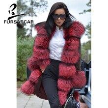 FURSARCAR Natural Real Fur Parka Women With Thick Fox Fur Trim Hood And Cuff Luxury New Winter Female Fur Parka Fashion Style