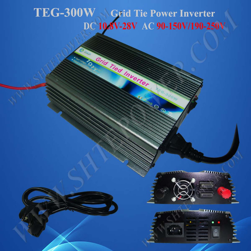 Free shipping 300W grid tie home use inverter, 12V dc to 220V ac pure sine inverter, 220V ac solar inverter inverter stackable high quality dc 12v 24v input to ac output standard voltage home use on grid tie solar mini inverter 500w