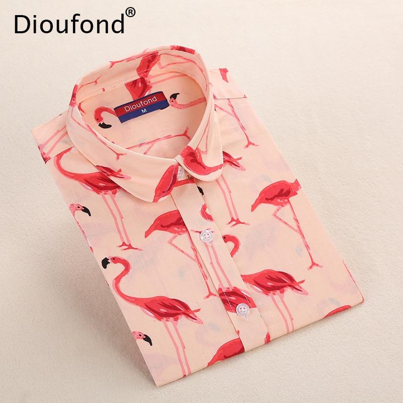 Dioufond Flamingo Animal Print Langarm Bluse Shirt Frauen Palmblatt Herbst Casual Blusen Baumwolle Bluasas Plus Größe 2017