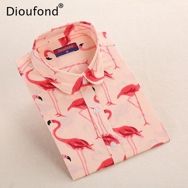 Dioufond Фламинго животных печати Блузка с длинными рукавами рубашка Для женщин пальмовых листьев осень Повседневное Блузки для малышек хлопок bluasas плюс Размеры 2017