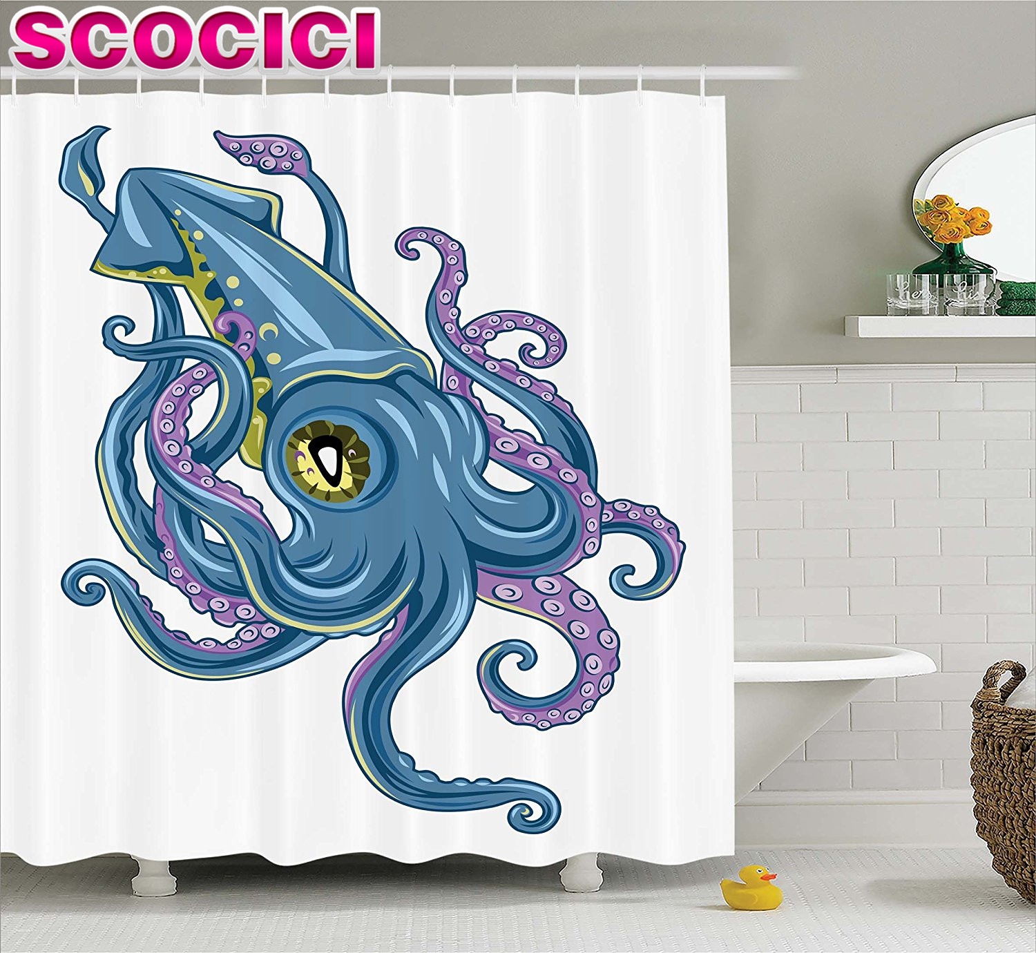 Kraken shower curtain - Kraken Decor Shower Curtain Mythical Squid Swimming Tentacles Cuttlefish Fin Marine Life Graphic Print Fabric Bathroom Decor Set
