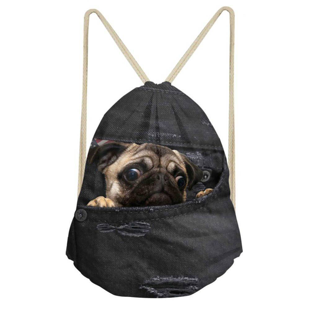 ThiKin Vintage Puppy Pug Drawstring Bag For Women Cute Kids Jeans Travel Storage Rucksack Girls Bagpack Sack Pack Mochila