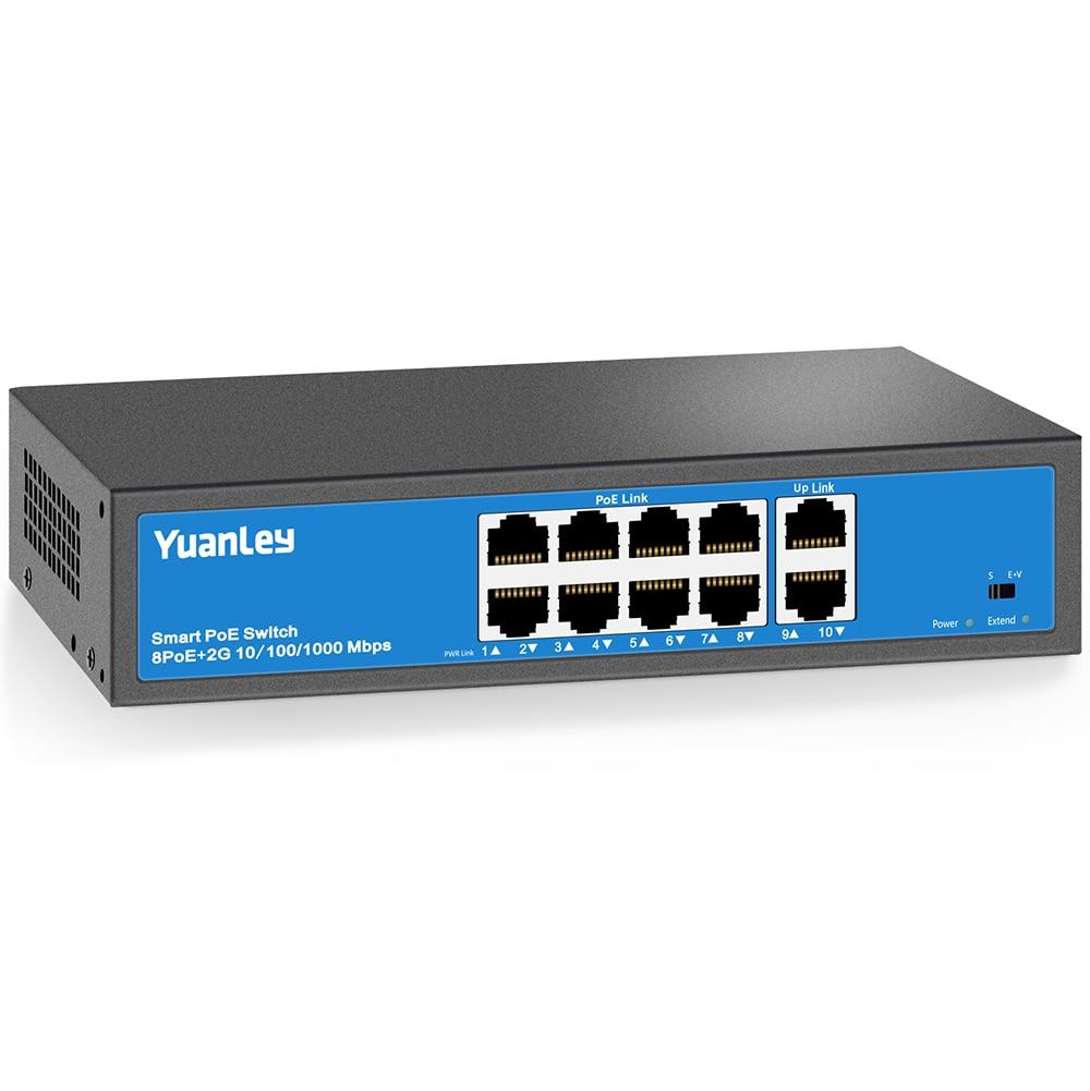 YuanLey 8 Port PoE Switch, 2 UpLink Gigabit, PoE Plus 802.3af/at, 120W Built-in Power, Vlan Up To 250m, Metal Plug & Play Networ